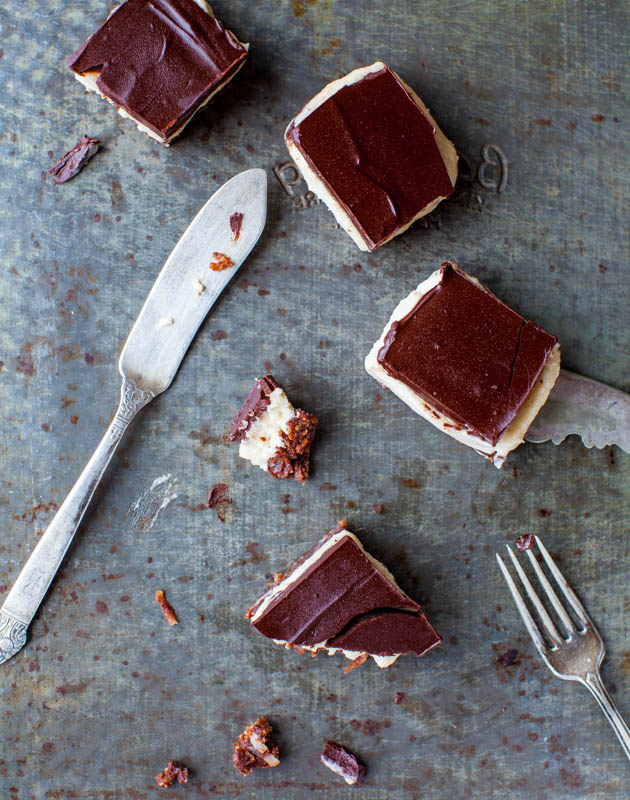 Nanaimo Bars cut in pieces