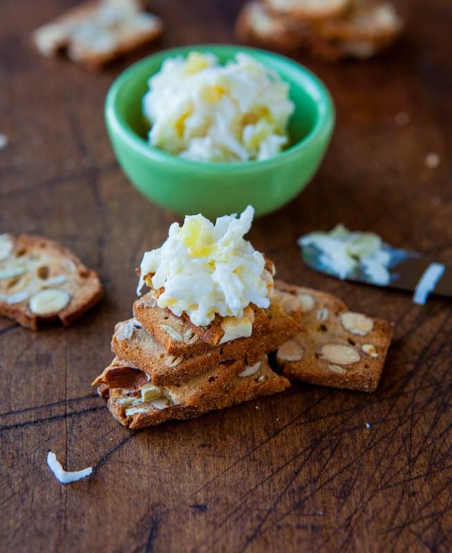 Pina Colada dip on crackers