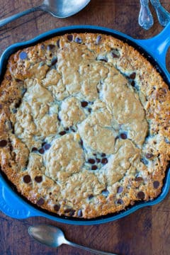 Chocolate Chip Peanut Butter Oatmeal Skillet Cookie