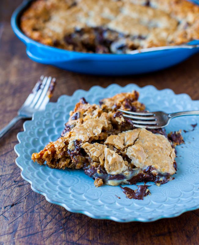 Skillet Cookie — This cast iron skillet cookie combines three of my favorite cookies into one! Chocolate chips, peanut butter, and oatmeal are combined to make the best cookie I've eaten in a long time!