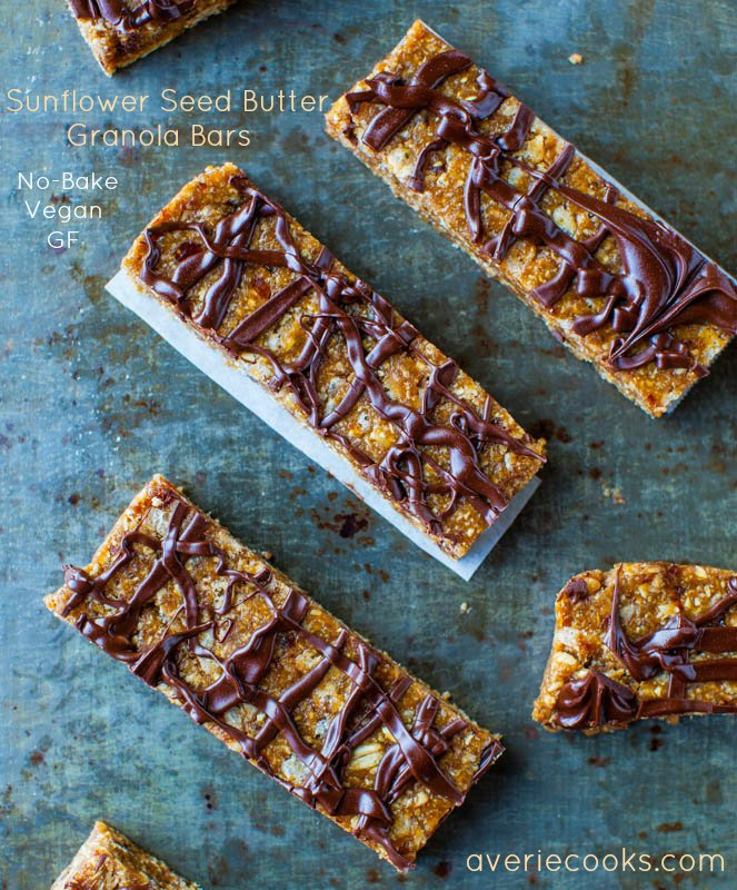 Sunflower Seed Butter Granola Bars with Chocolate Drizzle - (vegan, GF)