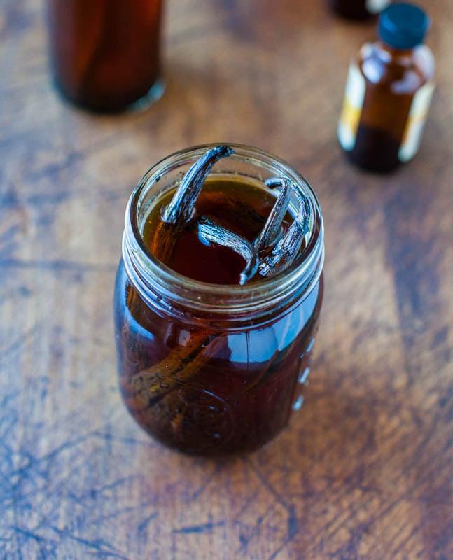 Homemade Vanilla Extractin glass mason jar