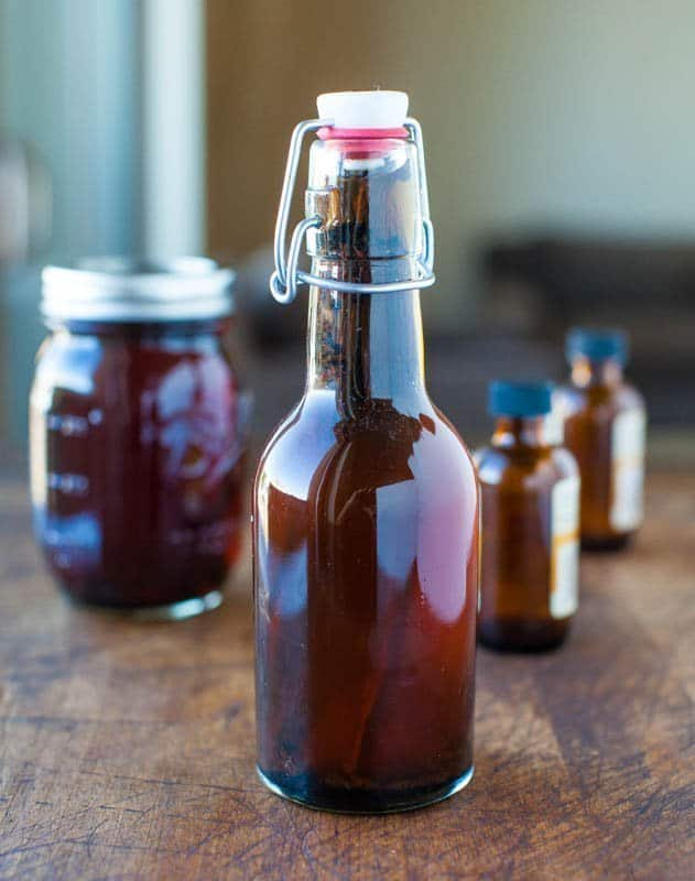 Homemade Vanilla Extract in glass bottle