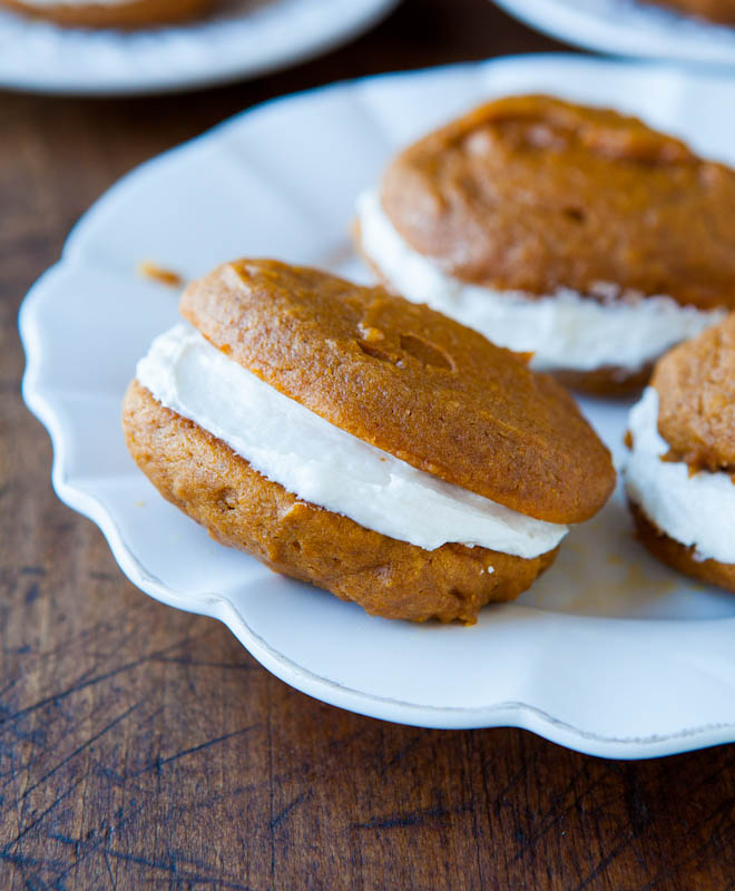 Pumpkin Whoopie Pies – Soft, tender cookies with a sweet buttercream filling!