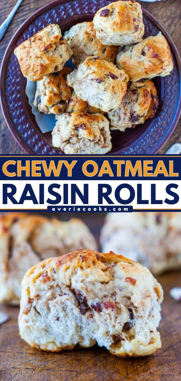 Easy Oatmeal Dinner Rolls (with Raisins!) — Lightly sweetened from honey in the dough and are brushed with honey-butter prior to baking, these homemade dinner rolls are subtly sweet and so easy to make!