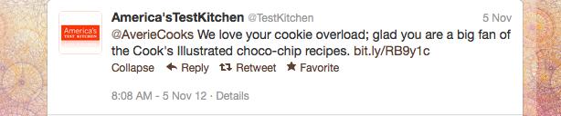 Tweet from America's Test Kitchen