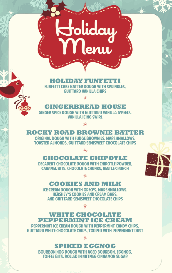The Cravory Cookies holiday menu