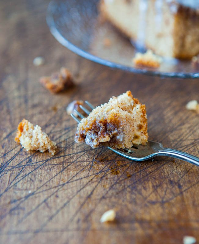 piece of cinnamon coffee cake on a fork