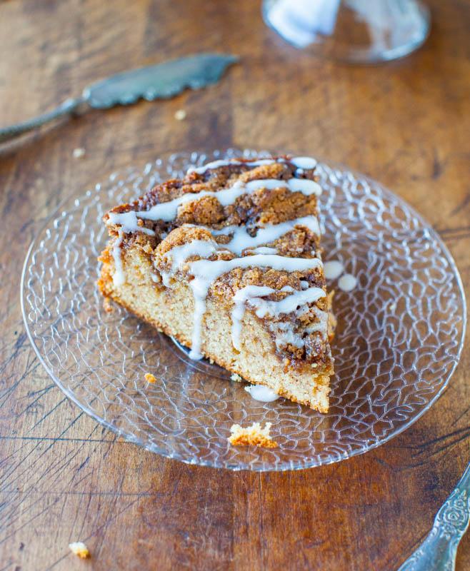 slice of cinnamon coffee cake on a glass plate