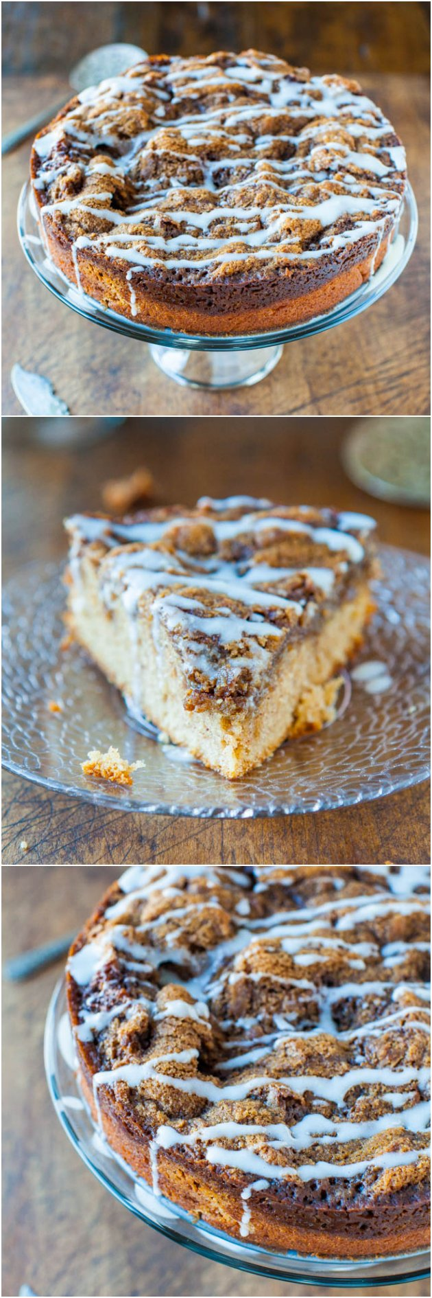 Glazed Cinnamon Roll Coffee Cake — A very fast and straightforward cinnamon coffee cake to make and isn't fussy at all. It's moist, dense, and way easier to make than actual cinnamon rolls!