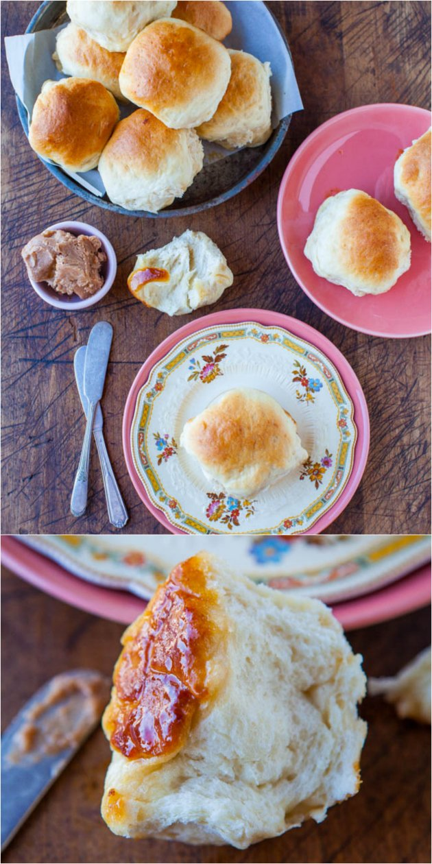 Soft & Fluffy Sweet Dinner Rolls — Lightly sweetened from the honey in the dough and brushed with honey-butter prior to baking!! These dinner rolls are made from scratch and are baked to golden brown perfection!