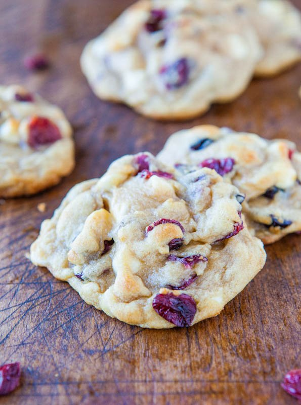 Cranberry and White Chocolate Chip Cookies - Soft, chewy, buttery, perfectly sweetened with white chocolate, and so much texture from the cranberries!