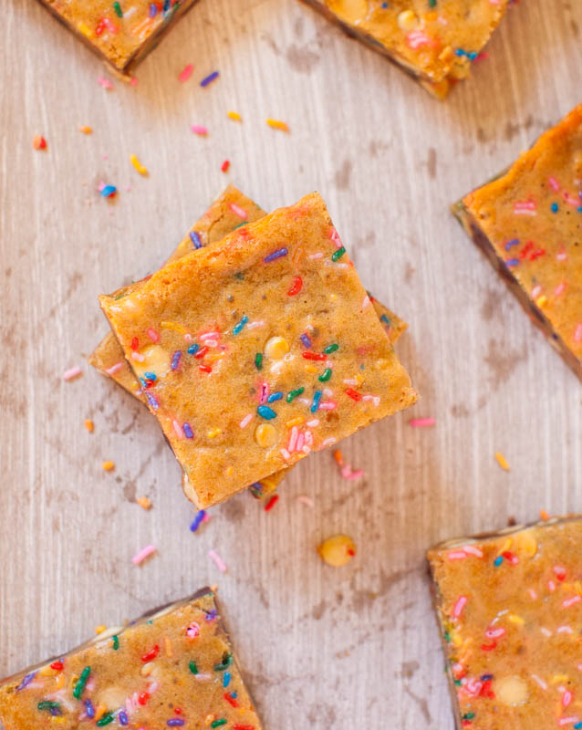 Overhead view of Funfetti Cake Batter Blondies