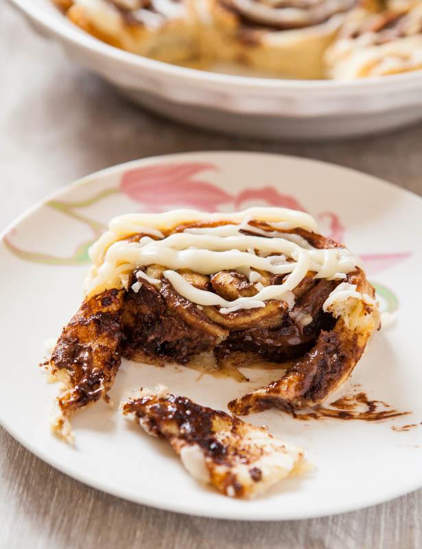 Nutella Cinnamon Rolls with Vanilla Glaze - Averie Cooks