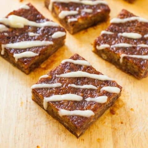 Peach Jelly-Filled Banana Bread Bars with Vanilla Glaze