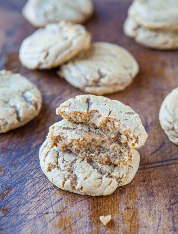 Soft and Chewy Brown Sugar Maple Cookies - Two types of brown sugar and maple syrup give these soft, buttery cookies an incredible caramel-ey flavor! So good!