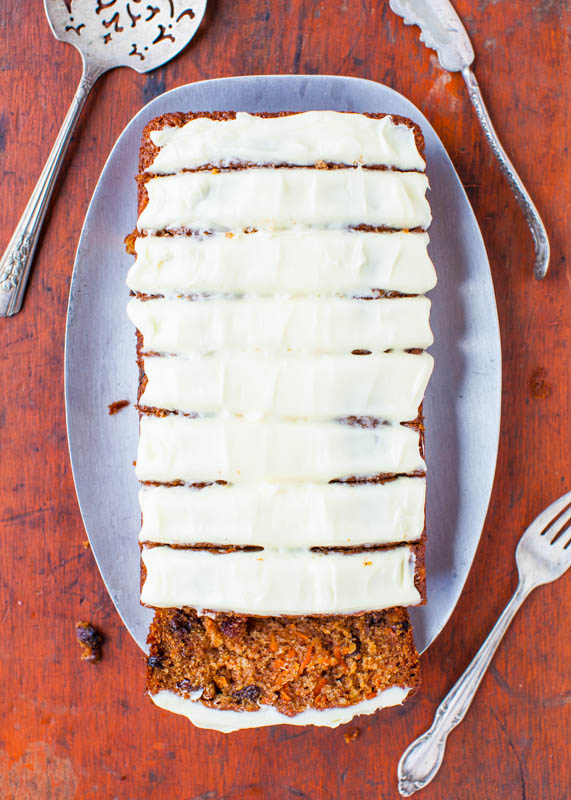 Carrot Cake Loaf with Cream Cheese Frosting - Soft, moist carrot cake that's baked as a loaf. So much faster & easier than baking a cake!