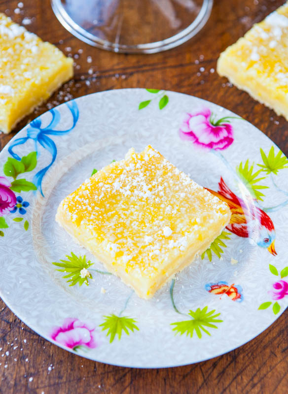 The Best Lemon Bars - Good old-fashioned lemon bars that pack a punch of big time lemon flavor, without being too tart or too sweet! Easy, no-mixer recipe!