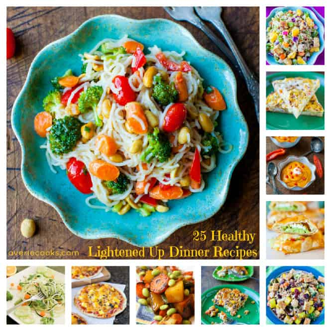 Collage of 25 Healthy Lightened Up Dinner Recipes