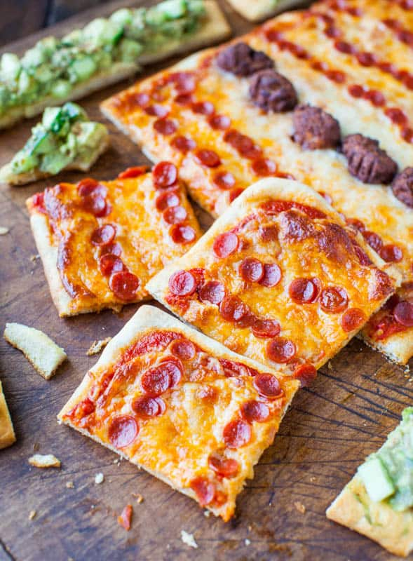Pepperoni Pizza and Chipotle Avocado Cucumber Flatbreads