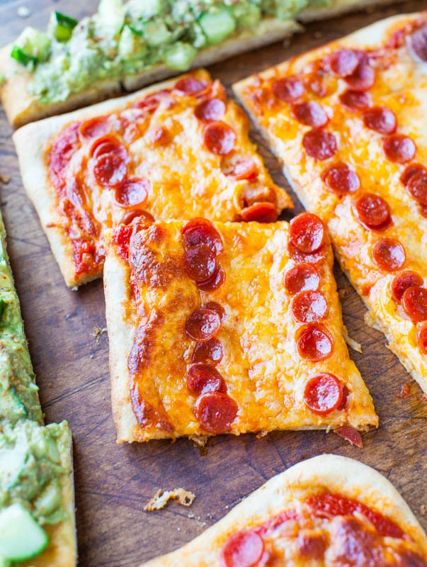 Pepperoni Pizza and Chipotle Avocado Cucumber Flatbreads- Fun, easy and great for game days!