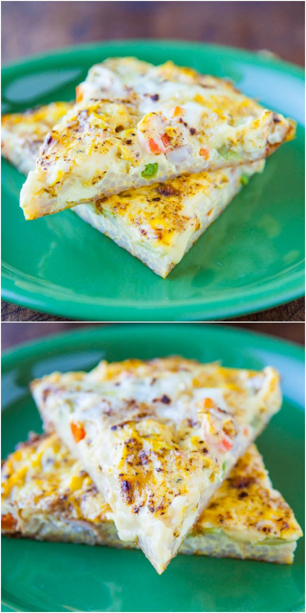 Vegetable Fried Rice Frittata - Like a fried rice & veggie stir that was baked into soft creamy eggs! Easy & healthy!