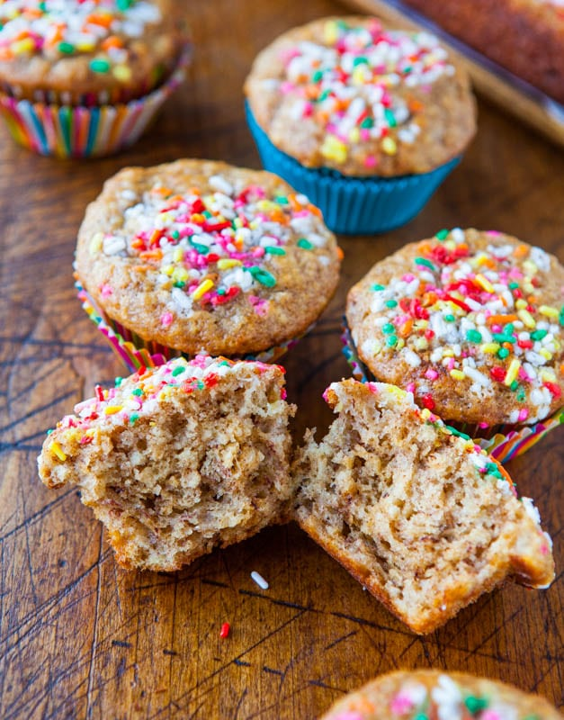 Banana Yogurt Muffins and Little Banana Bread Loaf @averiecooks.com