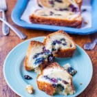 Blueberry and Cream Cheese Muffin Top Bread averiecooks.com