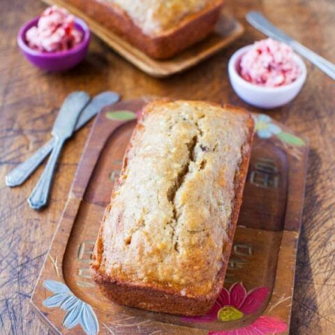 Browned Butter Buttermilk Banana Bread with Strawberry Butter