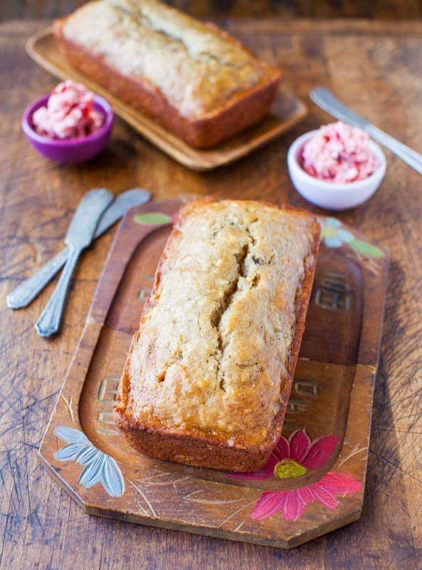 Browned Butter Buttermilk Banana Bread with Strawberry Butter averiecooks.com