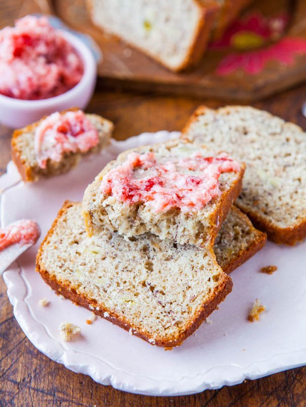 banana bread with buttermilk in it topped with strawberry butter