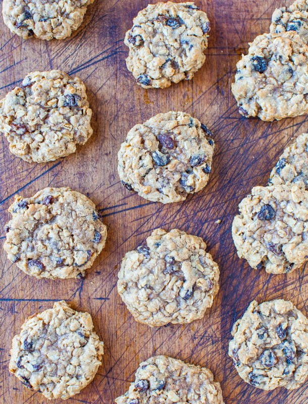 Overhead of laid out Thick and Chewy Oatmeal Raisin Cookies