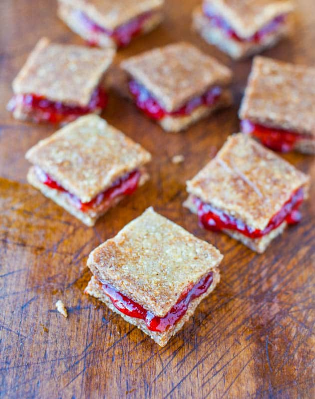Peanut Butter and Jelly Coconut Cashew Sandwich Cookies (no-bake, vegan, GF) averiecooks.com