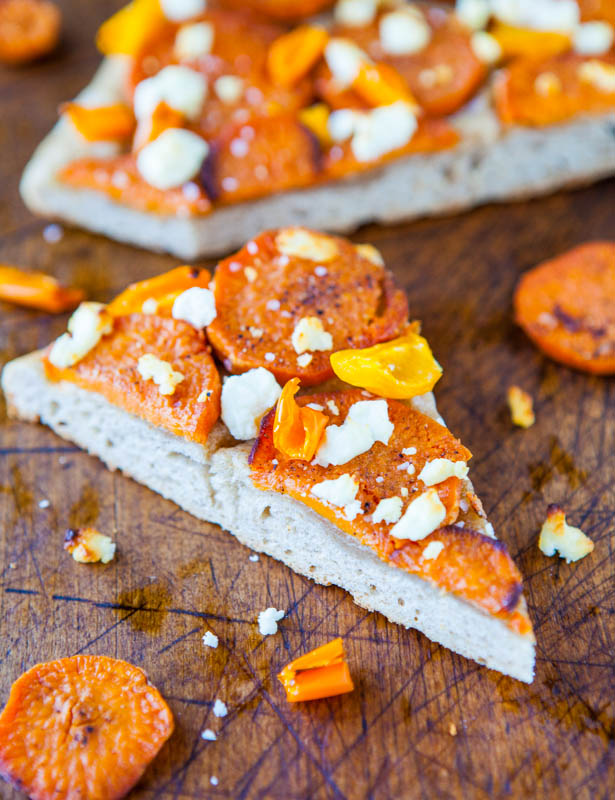 Roasted Sweet Potato & Goat Cheese Pizza with 1-Hour Homemade Wheat Crust averiecooks.com