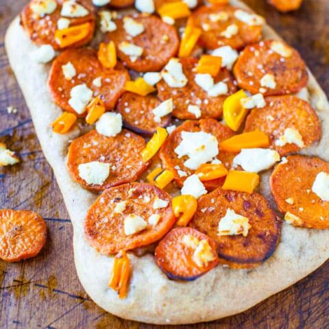 Roasted Sweet Potato and Goat Cheese Pizza on One-Hour Whole Wheat Crust
