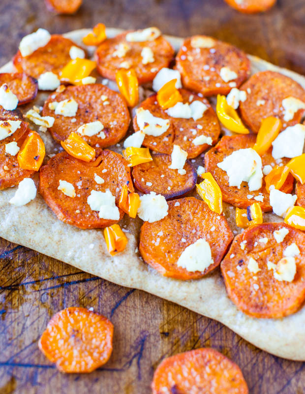 sweetpotatopizza-28Roasted Sweet Potato & Goat Cheese Pizza with 1-Hour Homemade Wheat Crust averiecooks.com
