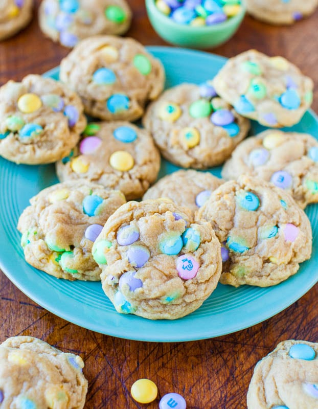 Soft and Chewy M&M's Cookies — Super soft, chewy, buttery M&M's cookies that totally are irresistible! Loaded with M&M's and perfect for springtime, Easter, Mother's Day and more!