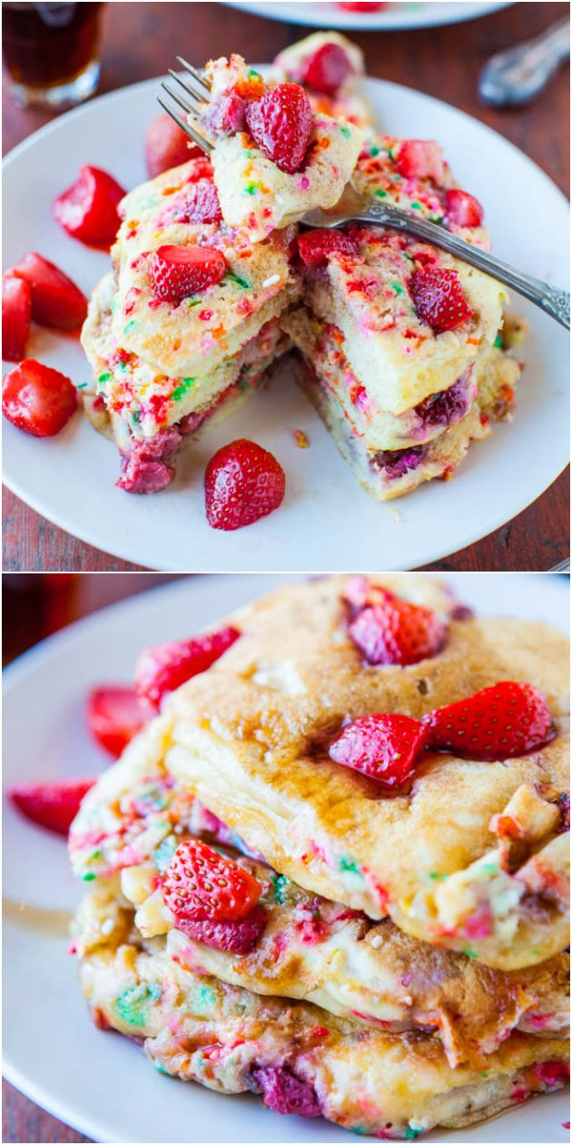 Strawberry and Sprinkles Buttermilk Pancakes - Fluffy pancakes with strawberries & sprinkles cooked right in! A fun twist on classic buttermilk pancakes that's a hit with kids & perfect for Valentine's Day!