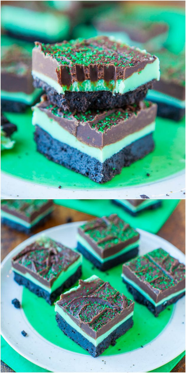 Mint and Chocolate Fudge Oreo Bars - Fudge-topped mint bars with an Oreo crust! You can't go wrong with mint & chocolate! Perfect for St. Paddy's Day!
