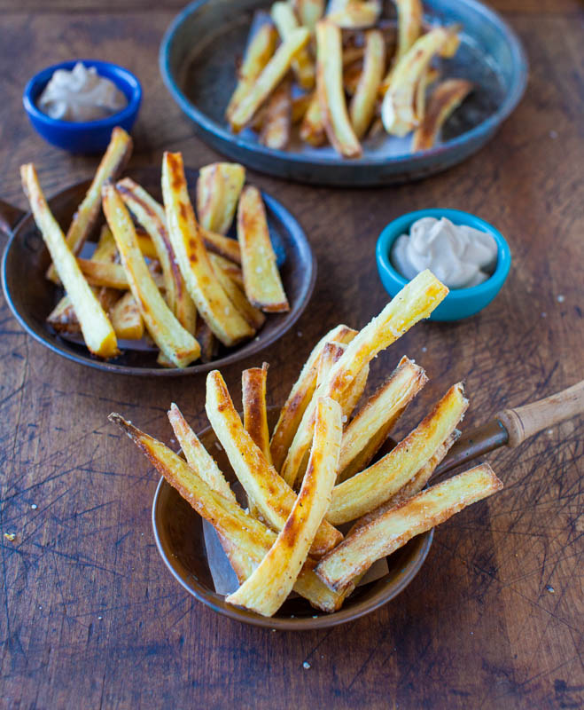 Baked Parsnip Fries with Creamy Balsamic Reduction Dip