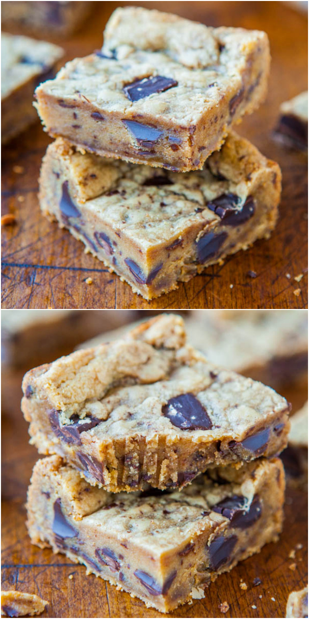 Peanut Butter Chocolate Chunk Cookie Bars - Soft peanut butter bars with big chunks of chocolate in every bite! Faster & easier than making cookies!