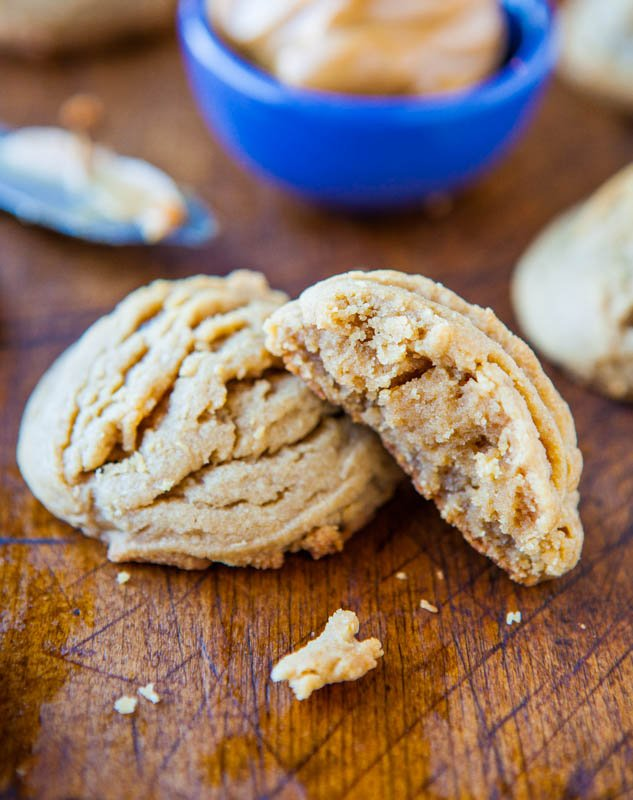 Soft and Puffy Peanut Butter Coconut Oil Cookies averiecooks.com