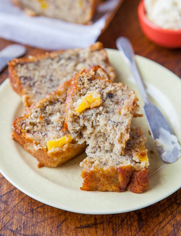 sliced banana bread with coconut oil