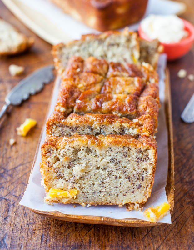 sliced loaf of Banana Pineapple Bread