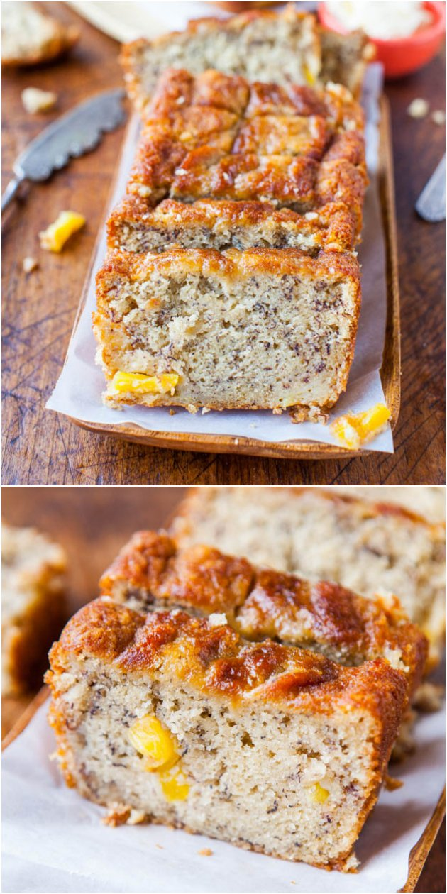 Pineapple Coconut Oil Banana Bread - No butter used in this soft, moist, fluffy loaf that reminds me of a tropical vacation!