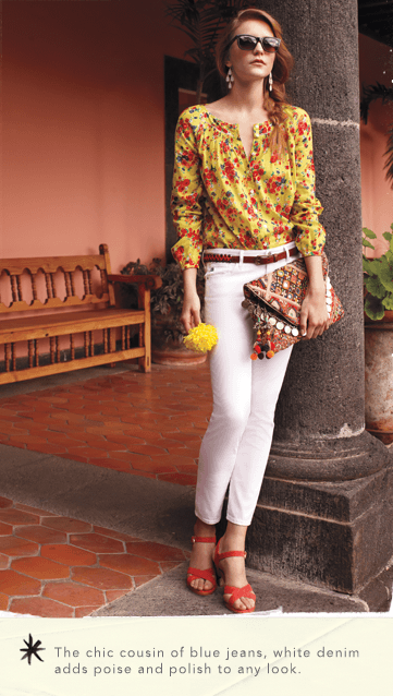 Woman in white pants and yellow and red shirt