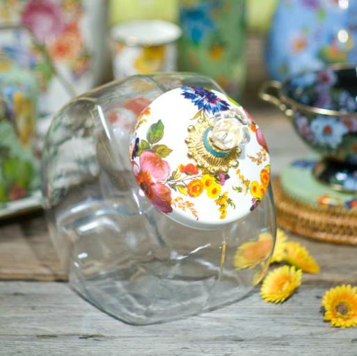 Cookie Jar with Enamel Flower Market Lid