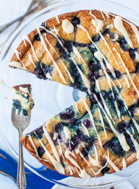 Blueberry and Jam Buttermilk Coffee Cake with Buttery Vanilla Glaze averiecooks.com