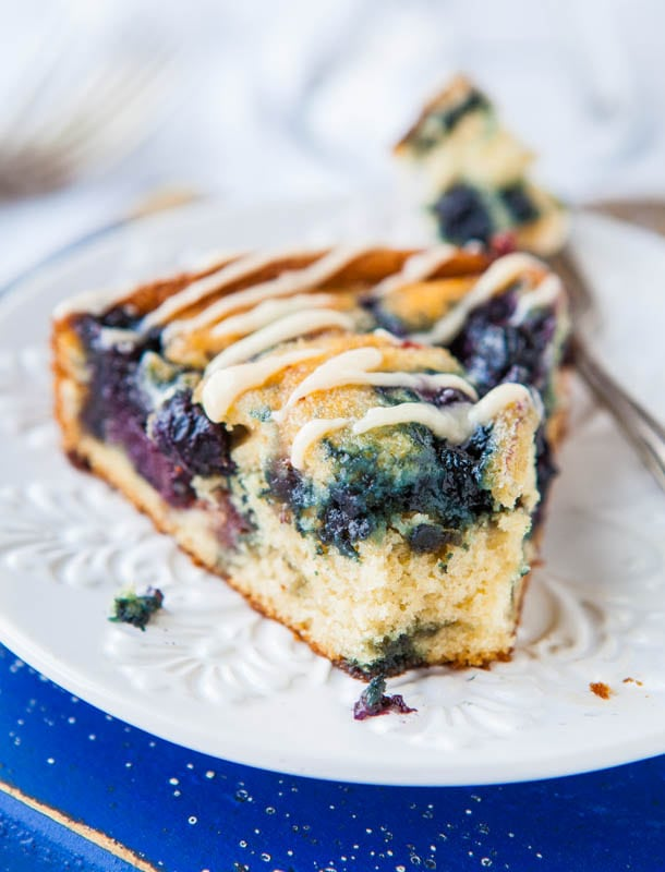 Blueberry and Jam Buttermilk Coffee Cake with Buttery Vanilla Glaze ...