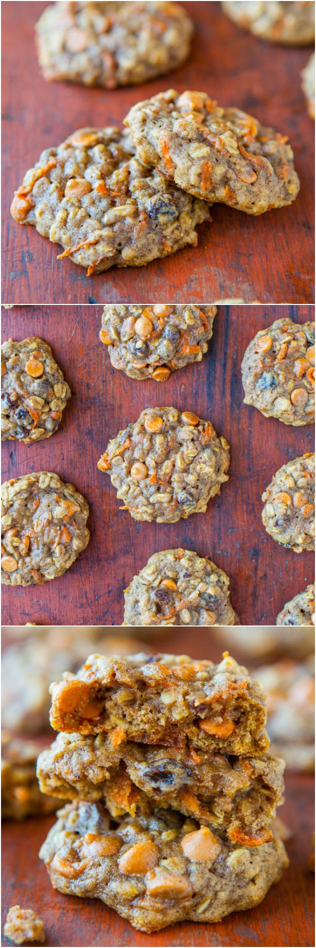 Spiced Carrot Cake Cookies — All the flavors of richly spiced carrot cake, but in cookie form! Soft, chewy, extremely moist, and not at all cakey.